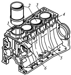 Блок двигателя со съемными гильзами цилиндров